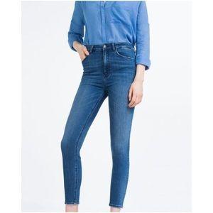 Zara Woman Highrise Skinny Jeans in Blue GREAT 8